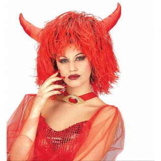 Damen Perücke TEUFELIN MIT HÖRNER rot Halloween KostümTeufel Party 6115