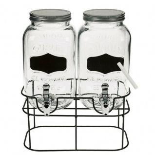 2x Getränkespender mit Ständer 2 x 3, 5 L mit Hahn Glas Wasserspender Saftspender