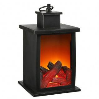 Deko LED Kamin Laterne Flammen-Effekt Kaminfeuer Dekolaterne Tischkamin #7089