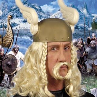 Perücke ASTERIX MIT BART blond für Herren Kostüm Wikinger Römer