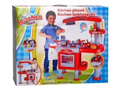 Große SPIELKÜCHE Kinderküche Kinder Küche viel Zubehör Töpfe Geschirr Backofen