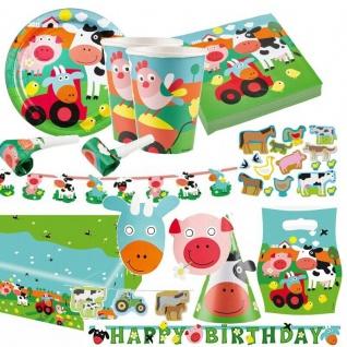 BAUERNHOF TIERE Farm Fun Partygeschirr - Alles zum Kinder Geburtstag- Party Deko