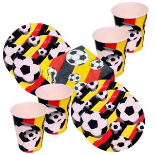 60 tlg DEUTSCHLAND -Fan Set 20xTeller + 20x Becher + 20x Servietten Fussball