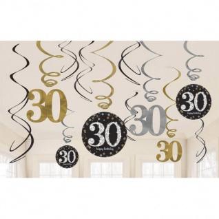 30. Geburtstag Party SWIRL GIRLANDE schwarz gold 12tlg. Raum Deko Glamour # 0478
