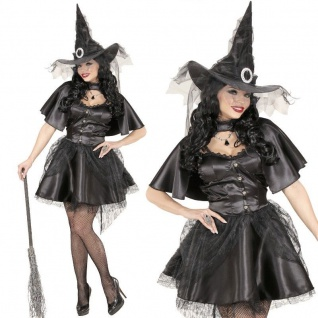 BLACK WITCH Hexe XS (32) kurzes elegantes Damen Kostüm Kleid Umhang Hut #0631