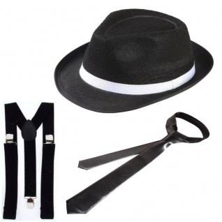 3tlg. Gangster Set Mafia Kostüm 20er 30er - Hut Hosenträger Krawatte Charleston