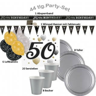 50 Geburtstag 44-tlg.Party Set Happy Birthday Becher Servietten Wimpelkette