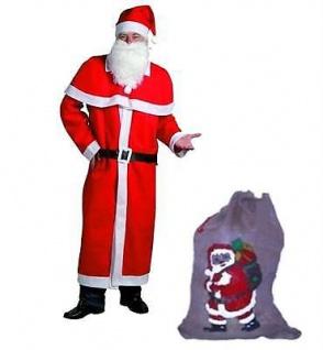 WEIHNACHTSMANN NIKOLAUS Kostüm 5-teilig Größe XL großem mit Jute Sack