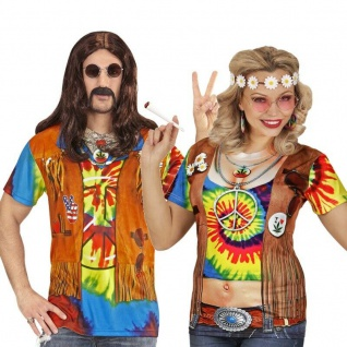 60er 70er Hippie Kostüm 3 D Shirt Partnerkostüm für Damen & Herren Flower Power - Vorschau 1