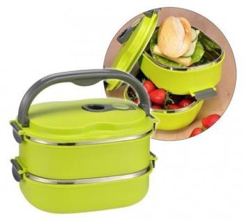 Lunchbox Brotdose oval 2 separate Edelstahlbehälter für heiße und kalte Speisen