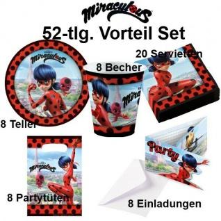 Ladybug Miraculous 52 tlg. Vorteil Party Set Kinder Geburtstag - Teller Becher