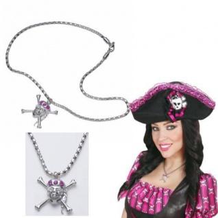 TOTENKOPF KETTE Strass Piraten Kostüm Zubehör Totenkopf Halskette Piraten 5342