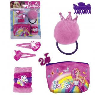 Barbie 10 tlg. Schmucktaschen Set - Kinder Haarschmuck Prinzessin Haarbänder