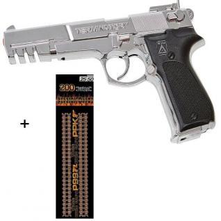 TERMINATOR Agent Pistole mit 200 Schuss Munition Kinder Spielzeug chrom 0489
