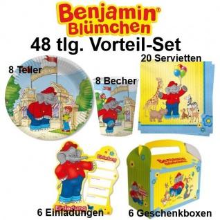 48 tlg. Vorteil-Set BENJAMIN BLÜMCHEN Kinder Geburtstag Party - Teller Becher