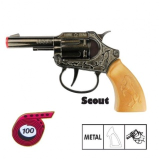 Revolver SCOUT Knall Pistole Kinder Spielzeug Metall Gehäuse Western Karneval