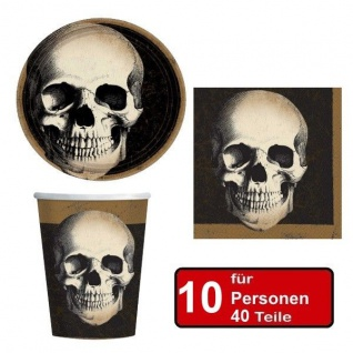 40 tlg. Halloween Party Set TOTENKOPF -Teller Becher Servietten für 10 Personen