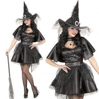 BLACK WITCH Hexe S (34/36) kurzes elegantes Damen Kostüm Kleid Umhang Hut #0631
