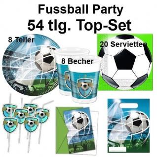 54tlg. TOP-Set FUSSBALL Taktik Kinder Geburtstag Party Teller Becher Tischdecke