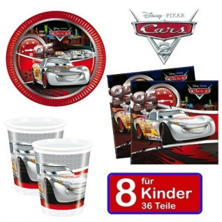 Disney CARS silver Kinder Geburtstag Party - Teller Becher Servietten 8 Kinder