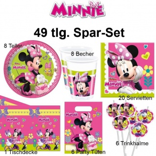 49tlg. Spar-Set MINNIE MAUS Kinder Geburtstag Party Teller Becher Party Tüten
