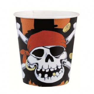 8 Becher Piraten Party Kindergeburtstag jolly roger
