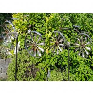 Windrad Windspiel Damen Herren Fahrrad Metall Antik Eisen verzinkt Gartenstecker