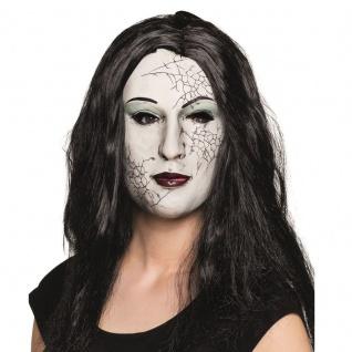 ZOMBIE GIRL mit HAAR Maske Horror Latex Totem Frau Maske Halloween (7560)