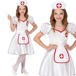 Krankenschwester Kinder Kostüm Gr. 128 - Kleid mit Haube Fasching Karneval #8579