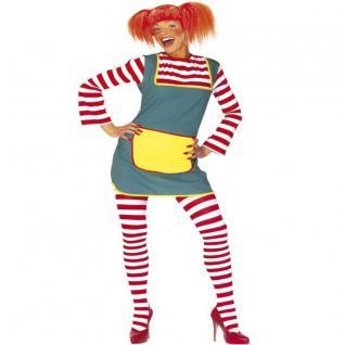 Damen Kostüm KLEID MIT STRUMPFHOSE 34/36 (S) Starkes Mädchen Langstrumpf Girl