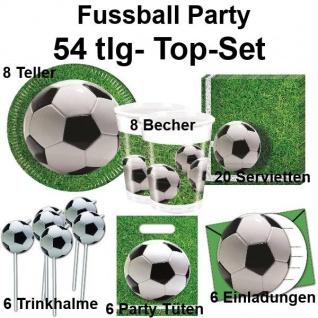 54 tlg. TOP-Set FUSSBALL Platz Kinder Geburtstag Party Teller Becher Tischdecke