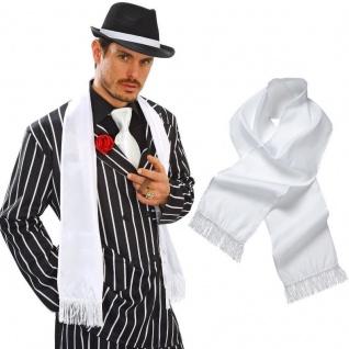 Weißer Schal Satin Fransen Priester Mafia Gangster 20er Mottoparty Kostüm #9148