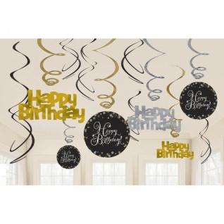 HAPPY BIRTHDAY Geburtstag Party 12 Swirl Girlanden schwarz Gold Raum Deko 01177