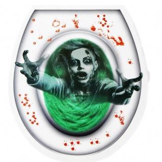 Halloween Deko - BLUTIGER ZOMBIE - Toiletten Sticker WC Deckel Aufkleber #5808