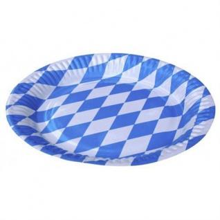 10er-Pack Oktoberfest Bayern Partyteller mit blau-weißen Rauten Ø 23 cm