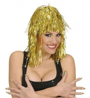 GLITZER PERÜCKE GOLD METALLIC Folienperücke Lametta Karneval Party 2471
