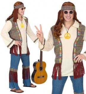 Hippie Herren Kostüm 48/50 (M) Jeans Schlaghose 60er 70er Jahre Flower Power 712