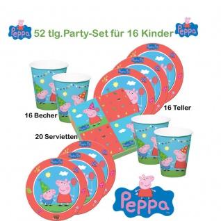 Peppa Wutz Set für 16 Kinder Teller Becher Servietten Kinder Geburtstag