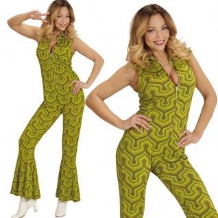 70er Disco Girl Overall mit Schlag 42/44 -L- Damen Kostüm Hippie Jumpsuit #8913