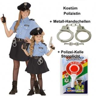 Polizistin Polizei Kinder Kostüm für Mädchen + Handschellen + Polizeikelle