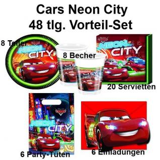 48 tlg. Vorteil-Set CARS NEON CITY Kinder Geburtstag Party Deko - Teller Becher