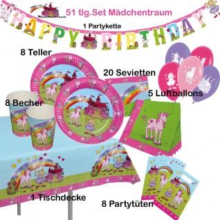 51tlg, Kinder Geburtstag Set Mädchentraum Teller Becher Einhorn Zubehör
