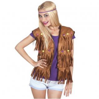 Hippie Jacke Fransenweste Damen Kostüm 60er 70er Jahre Flower Power Weste # 4521