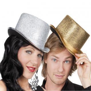 Show ZYLINDER Hut glitzer gold oder Silber glitter Kostüm Zubehör Party Karneval