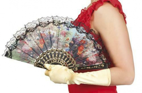 BURLESQUE FÄCHER Handfächer mit Blumenstickerei Gothic Karneval bunt