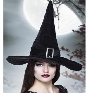 HEXENHUT MIT SCHNALLE Samt Hexe Zauberer Hut Halloween schwarz Karneval Fasching