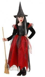 Hexe Mädchen Kostüm Samira Kleid mit Hut Halloween Kinder Gr. 128