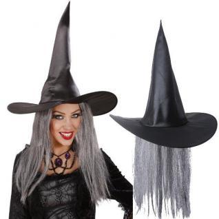 HEXENHUT MIT HAAREN schwarz Halloween Karneval Fasching #8681