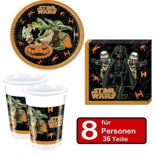 36 tlg. Halloween Party Set STAR WARS -Teller Becher Servietten für 8 Personen