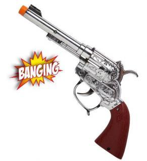 Cowboy Pistole Wyoming Western Effektpistole mit Sound silber-braun # 2783